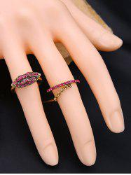 Vintage Rhinestone Lips Ring Set