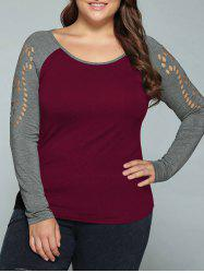 Plus Size Hollow Out Raglan Sleeve T-Shirt