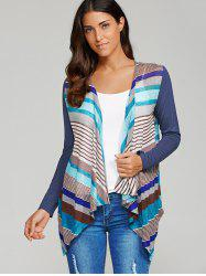 Striped Asymmetrical Sheer Cardigan - STRIPE