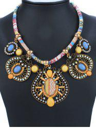 Geometry Rhinestone Enamel Statement Necklace - YELLOW
