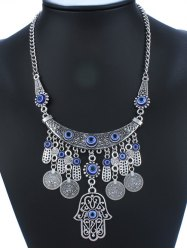 Geometry Hollow Out Coin Tassel Pendant Necklace -
