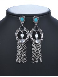 Rhinestone Faux Crysle Tassel Drop Earrings