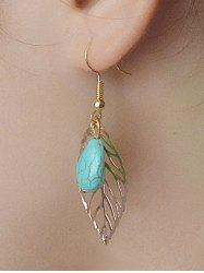 Leaves Hollow Out Turquoise Drop Earrings - GOLDEN