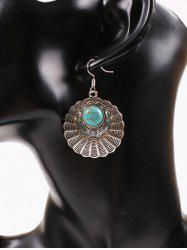 Vintage Round Filigree Turquoise Drop Earrings - SILVER