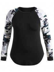 Plus Size Camo Splicing Raglan Sleeve T-Shirt