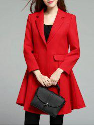 One Button Lapel Skirted Coat -
