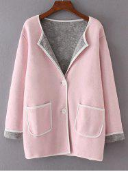 Twin Pockets Patchwork Sweater Coat - PINK