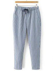 Striped Drawstring Waist Loose Harem Pants - STRIPE L