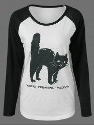 Raglan Sleeve Cat Print Funny T-Shirt - WHITE/BLACK M