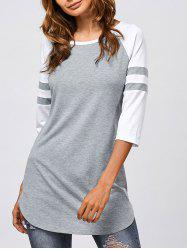 Striped Sleeve Long T-Shirt - GREY AND WHITE XL