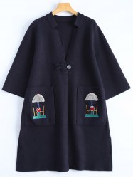 Plus Size Embroidered Coat with Pockets -