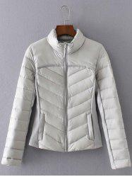 Slim  Fit Padded Down Jacket - LIGHT GRAY