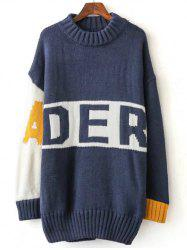 Color Block Letter Long Sweater -