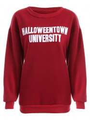 Pullover Letter Print Thicken Sweatshirt - DEEP RED