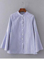 Buttoned Striped Bell Sleeve Blouse -