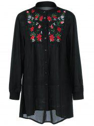 Plus Size Flower Embroidery High Low Blouse -