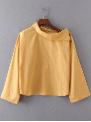 Skew Neck Buttoned Long Sleeves Blouse -