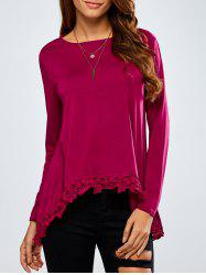 High-Low Lace Spliced Loose T-Shirt - WINE RED XL