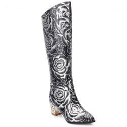 Pointed Toe Floral Print Chunky Heel Boots -