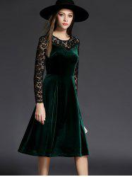 Long Sleeve Lace Spliced Knee Length Flare Dress - GREEN