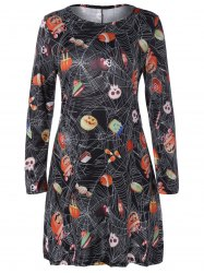 Pumpkin Skull Hallowmas Print Mini Swing Dress