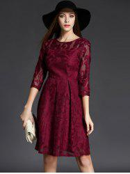 3/4 Sleeve Crochet Flare Dress - CLARET XL