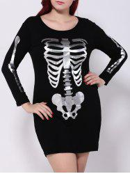 Plus Size Skeleton Print Hallowmas Mini Dress -