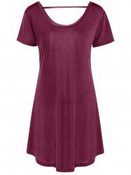 Hollow Out Tunic Tee Casual Dress - WINE RED 2XL