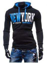 New York Printed Kangaroo Pocket Pullover Hoodie -