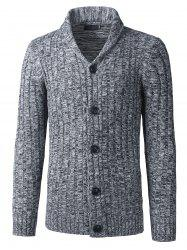 Shawl Collar Button Up Twist rayé Texture Cardigan - Gris