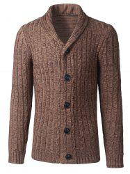 Shawl Collar Button Up Twist Striped Texture Cardigan - KHAKI