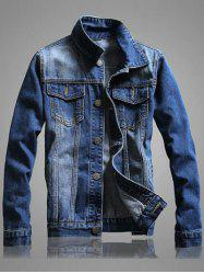 Pocket Front Long Sleeve Denim Jacket -