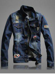 Letter Number Embroidery Distressed Denim Jacket - BLUE
