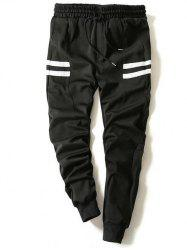 Drawstring Stripe Printed Beam Feet Jogger Pants - BLACK