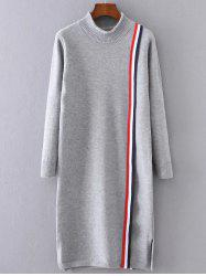 Stripe Spliced High Neck Slit Knitted  Dress