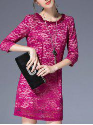 3/4 Sleeve Round Pleated Collar Lace Dress