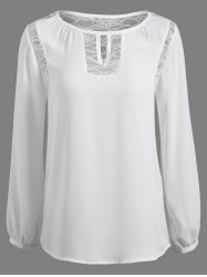 Lace Splicing Puff Sleeve Keyhole Blouse - WHITE XL