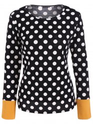 Scoop Neck Polka Dot Patchwork Sleeve T-Shirt