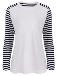 Round Neck Striped Patchwork T-Shirt - WHITE AND BLACK XL