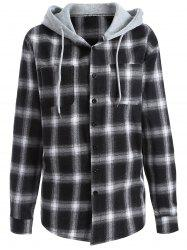 Casual Hooded Loose Gingham Checked Shirt - WHITE/BLACK L