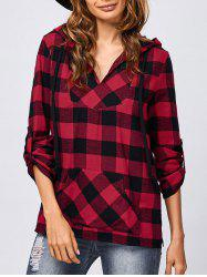 Kangaroo Pocket Adjustable Sleeve Plaid Hoodie