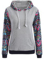 Pocket Geometric Pattern Hoodie - GRAY XL