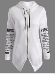 Zip Up Graphic Asymmetrical Hoodie
