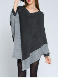 Pointed Hem V Neck Knit Poncho