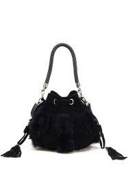 Faux Fur Braid Tassel Bucket Bag