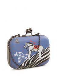 Kiss Lock Cartoon Horse Print Evening Bag - BLUE