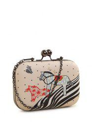 Kiss Lock Cartoon Horse Print Evening Bag -