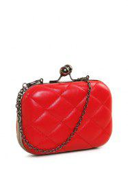 PU Leather Kiss Lock Quilted Evenig Bag -