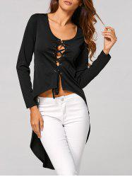 High Low T-Shirt with Criss Cross Bandage -