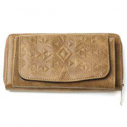 Geometric Embossed PU Leather Zip Around Wallet -